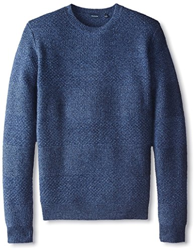 Thirty Five Kent Men's Cashmere Marled Wide Stripe Crew Neck Sweater, British Blue/Soft Denim, L