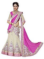 Ishin Georgette Net Party Wear Embellished White & Pink Lehenga
