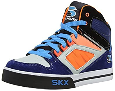 Skechers  Yoke Trainers Boys  blue Navy/Orange Size: 27