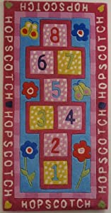 "Hopscotch Kids Area Rug 30""x60"" Tufted Game Rug Hand Carved"