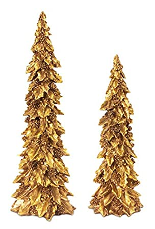 Glittered Antique Gold Holly Trees with Pines Cones Table Top Christmas Decorations - Set of 4 by Melrose