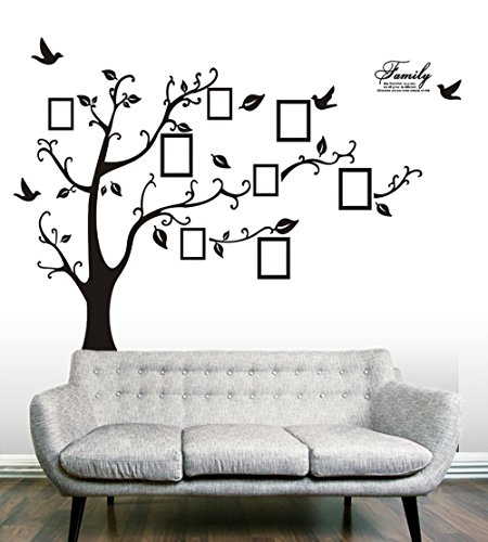Anbana ®Huge Removable Large Black 8 Photo Frames On The Tree Branches And Soaring Birds Wall Art Decal Stickers (Tree)