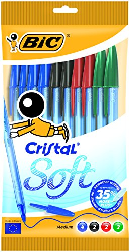 Bic Cristal Soft Punta Media 1,2 mm Confezione 10 Penne Colori Assortiti