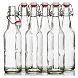 Seal-Tight Fliptop Beer Bottles / Grolsch Bottles with Wire Swing Top Plastic Cap for Brewing Beer and Kombucha - 16 oz, Clear Glass Bottles [Set of 6]