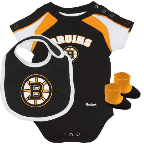 NHL Reebok Boston Bruins Newborn Creeper, Bib & Booties Set - Black (0-3 MO) at Amazon.com