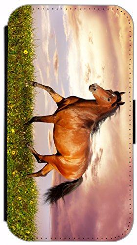 Kuna Flip Cover für Apple iPhone 5 / 5s Design K485 Pferd Hengst Braun auf Wiese Hülle aus Kunst-Leder Handy Tasche Etui mit Kreditkartenfächern Schutzhülle Case Wallet Buchflip Rückseite Schwarz Vorderseite Bedruckt mit Bild (K485)