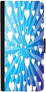 Snoogg Flying Hearts On Blue Background Designer Protective Flip Case Cover F...