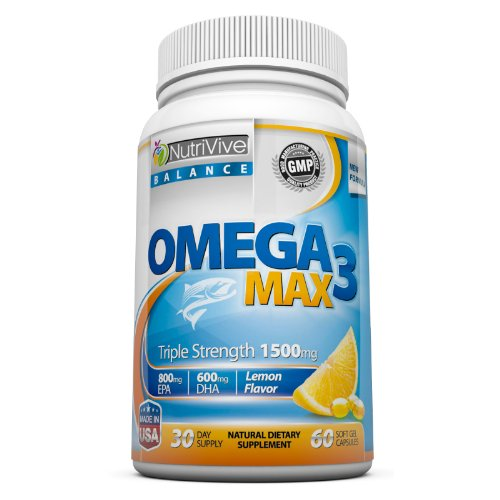 1500Mg Omega 3 Fish Oil Pills - ★ Best Fish Oil Health Benefits ★ - High Dosage Molecularly Distilled Omega 3 Essential Fatty Acids Supplements (600Mg Dha + 800Mg Epa Per Serving) - 60 Burpless Max, Triple Strength Capsules For Weight Loss, Joint Pain, He