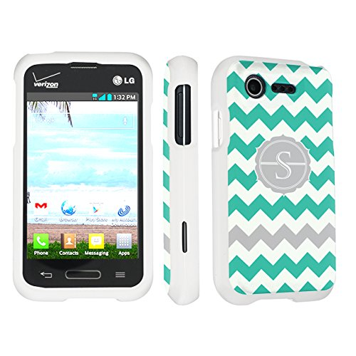 Skinguardz Lg L34C Optimus Fuel / Zone 2 Vs415 Full Protection Hard Case - (Mint Chevron Monogram Initial S White) back-1002968