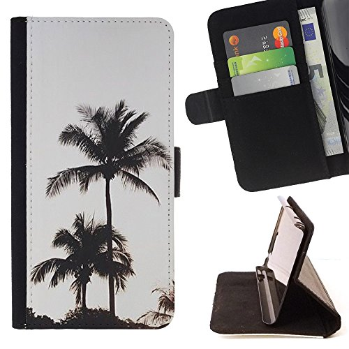 DEVIL CASE - FOR Samsung Galaxy S4 Mini i9190 - Palm Trees Evening Sky Sunset - Style PU Leather Case Wallet Flip Stand Flap Closure Cover (Samsung S4 Mini Palm Tree Cases compare prices)