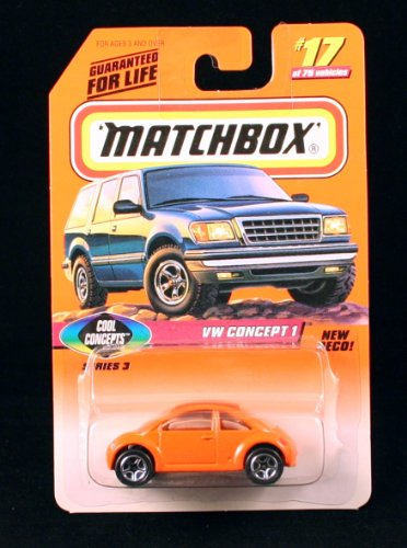 VW CONCEPT 1 * ORANGE * COOL CONCEPTS Series 3 MATCHBOX 1998 Basic Die-Cast Vehicle (#17 of 75) - 1