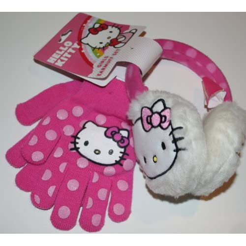 Hello Kitty Girls Earmuff Set   Earmuffs & Gloves Size Girls (8 12)