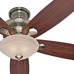 Factory-reconditioned 60-inch Brushed Nickel Finish Ceiling Fan with Swirled Marble Glass Light Kit