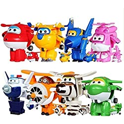 8pcs/set Super Wings Mini Planes Toys Deformation Airplane Robot Action Figures Boys&Girls Birthday Gift Brinquedos by Super Wings