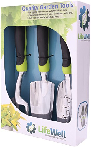 3-Piece Garden Hand Tool Set. The Toughest Gardening Tools You'll Ever Buy! Perfect Mother's Day Gift + Warranty. Tool Set Includes a Trowel, Cultivator and Transplanter. Incredibly Strong, Polished Aluminum Heads with Ergonomic Handles, Ready for Lifetime of Use.