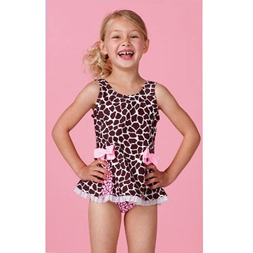Hula Star Toddler Girls Cute Brown Printed One PC Bow Swimsuit 2T-6X