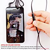 Alpatronix EX100 High Performance In-Ear Headphones with Built-in Mic / Tangle-Free Wired Headset Earbuds with 3-Button Volume Control for iPhone 5S 5C 5 4S 4 / iPad 4 3 2 1 mini air / iPod Touch Nano Shuffle and other Apple iOS Devices - Black
