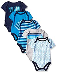Nautica Baby-Boys Newborn 5 Pack J Class Bodysuit, Assorted, 0-3 Months