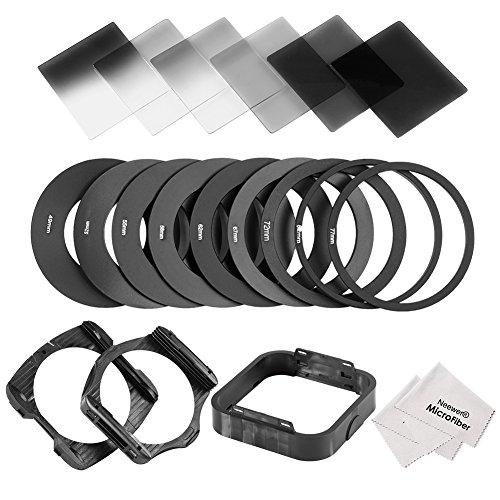 Neewer Kit Filtres ND Neutres Densité Remplacement pour Cokin Série P Comprend 6* Filtres Complets et Gradués (ND2 ND4 ND8 Filtre + Filtres Gradués
