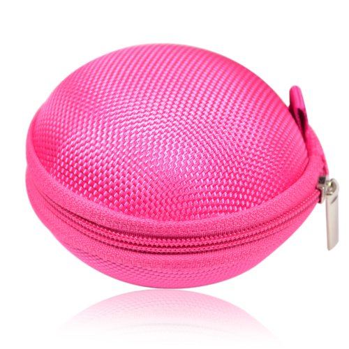 Earphone Headset Earbuds Hard Hold Case (Hot Pink)