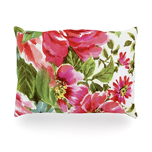 "Kess Inhouse Heidi Jennings ""Walk Through The Garden"" Pink Flowers Oblong Rectangle Outdoor Throw Pillow, 14 By 20-Inch front-1002802"