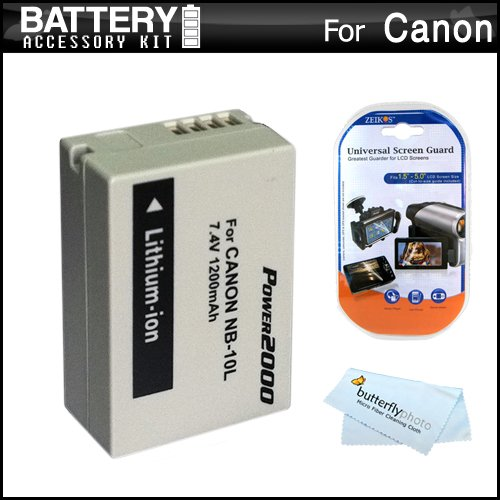 Battery Kit For Canon SX40 HS SX40HS Digital Camera Includes Extended Replacement (1200Mah) NB-10L Battery + LCD Screen Protectors + MicroFiber Cleaning Cloth