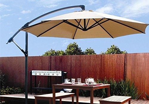 Outdoor Deck Patio Umbrella Off Set Cantilever Hanging Canopy Tan (10-feet)