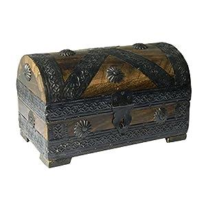 Cofre del tesoro 21x12x12,5cm marrón mirada de la antigüedad de madera