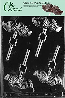 Cybrtrayd Mustache Lolly Chocolate Candy Mold with Exclusive Cybrtrayd Copyrighted Chocolate Molding Instructions