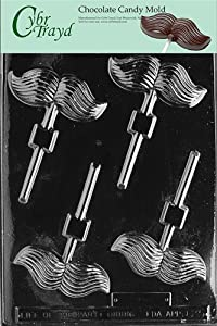 Cybrtrayd D025 Mustache Lolly Chocolate Candy Mold with Exclusive Cybrtrayd Copyrighted Chocolate Molding Instructions