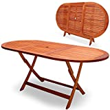 "Wooden Garden table ""Alabama"" - Foldable terrace table - FSC® certified - Folding table with umbrella holder"