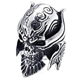 KONOV ジュエリー ファッション アクセサリー メンズ リング 指輪, バイカーズ ゴシック トライバル 牙狼 悪魔 髑髏 頭蓋骨 ドクロ スカル, ステンレス, カラー:ブラック; シルバー(銀);[ギフトバッグを提供] - [32号]