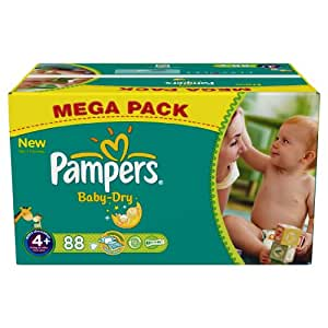 Pampers Baby Dry Couches Maxi + 9-20 kg Taille 4 Format Mégapack x 88