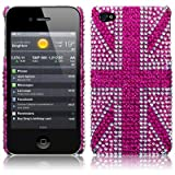 iPhone 4S / iPhone 4 Pink Union Jack Diamante Case / Cover / Shell / Shield Part Of The Qubits Accessories Rangeby TERRAPIN