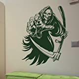 Death Skeleton Wall Sticker / Removable Wall Decal / Skull Wall Transfer ne55