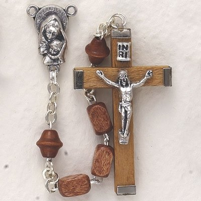 7mm Square Light Wood Bead and Maddona with Baby Center Rosary