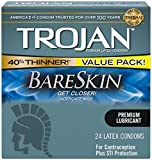 Trojan Condom Sensitivity Bareskin Lubricated - 24 Count