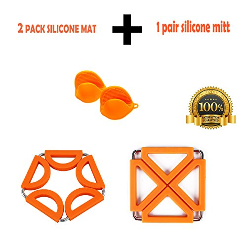 OZUZ Multipurpose Silicone Kitchen Tool : 1PAIR Pot Holders (Oven Mini Mitt) plus 2PCS Expandable Heat Resistant Hot Pads,Cup Mat,Trivets,Spoon Rest,Coaster (Orange)