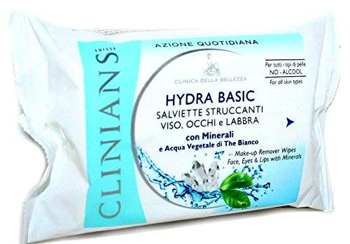 Salviette Struccanti Viso Occhi Labbra Con Minerali E The' Bianco Confezione Basic System Da 25 Salviettine