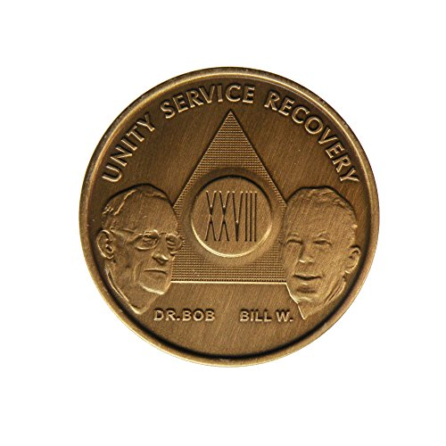 28 Year Bill & Bob Founders Edition Bronze AA (Alcoholics Anonymous) Birthday - Sober / Sobriety / Anniversary / Recovery / Medallion / Coin / Chip - 1