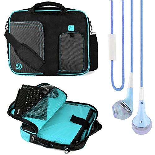"Vg Pindar Edition Messenger Bag Carrying Case (Aqua Blue) For Microsoft Surface Rt 2 / Pro 2 10"" Tablets + Blue Handsfree Headphones"