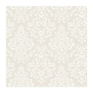 Delicate Document Damask Wallpaper, Deep Oyster/White - - Amazon.com