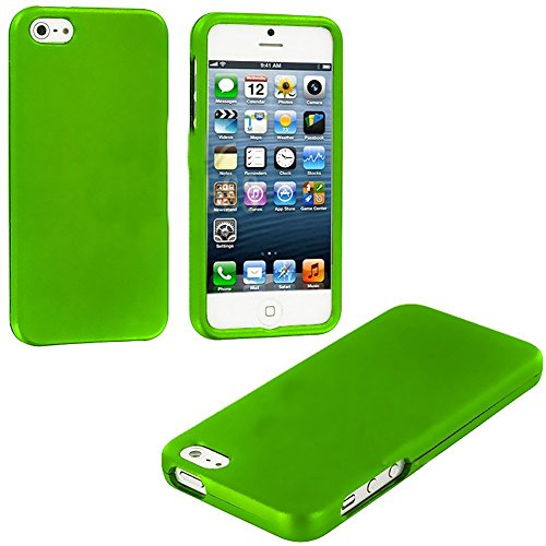 Mylife Lime Green Flat Series (2 Piece Snap On) Hardshell Plates Case For The Iphone 5/5S (5G) 5Th Generation Touch Phone (Clip Fitted Front And Back Solid Cover Case + Rubberized Tough Armor Skin)