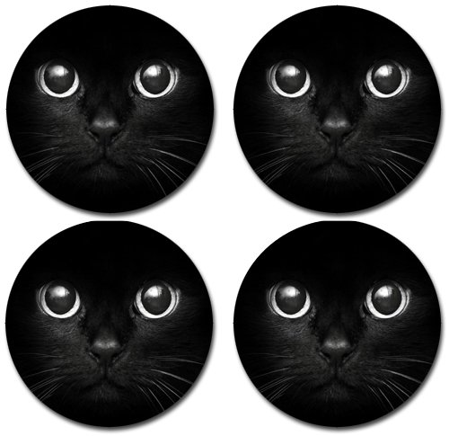 Black Cat Rubber Round Coasters (Set of 4)