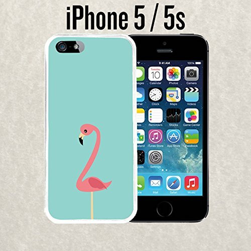iPhone Case Minimal Pink Flamingo Teal for iPhone 5 / 5s Rubber White (Ships from CA) (Kaylee Ca compare prices)