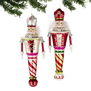 Large Nutcracker Glass Finial Ornaments by Department 56, 2 Pack