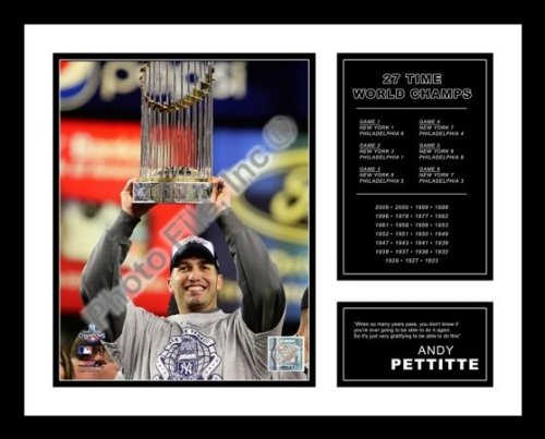 All About Autographs AAA-51275 Andy Pettitte New York Yankees Framed Photograph 2009 World Series Trophy Milestone