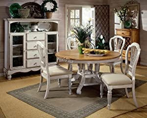 Wilshire 7 Piece Round Dining Set With Side Chairs- Antique White