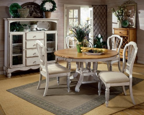 Hillsdale Wilshire 7 Piece Round Dining Table Set in Pine and Antique White Finish