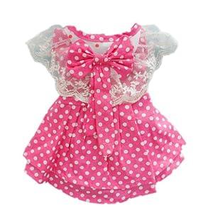 Petparty Pink Princess Polka Dot Dog Dress for Dog Shirt Fashion Cozy Dog Clothes ,S